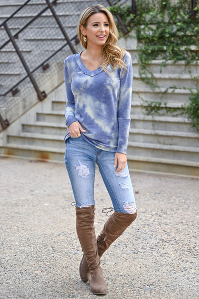 Trust Yourself Tie Dye Top - Periwinkle womens casual long sleeve ribbed knit v-neck raw edge top closet candy front