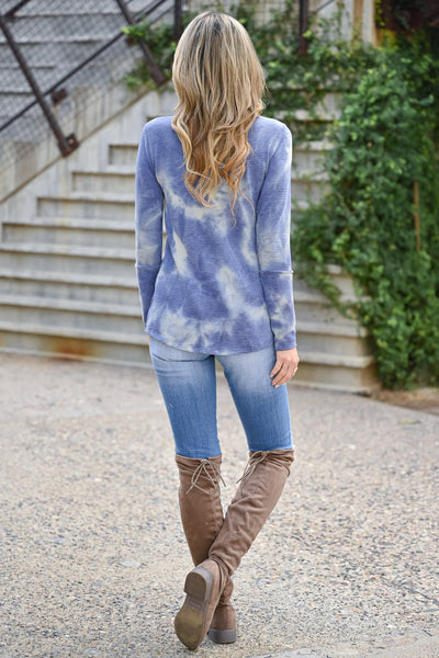 Trust Yourself Tie Dye Top - Periwinkle womens casual long sleeve ribbed knit v-neck raw edge top closet candy back