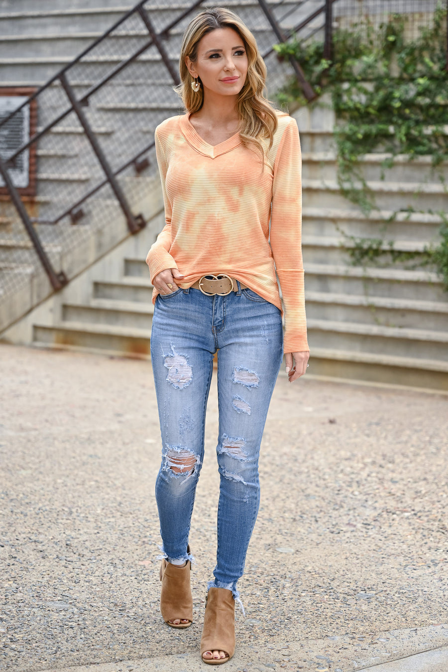 Trust Yourself Tie Dye Top - Creamsicle womens casual long sleeve tie dye ribbed knit top closet candy side