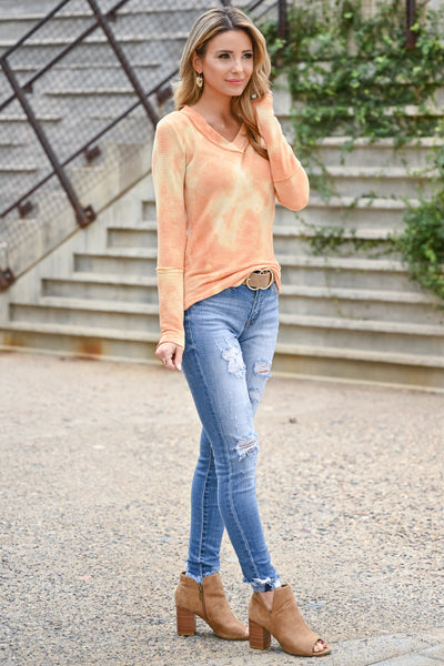 Trust Yourself Tie Dye Top - Creamsicle womens casual long sleeve tie dye ribbed knit top closet candy side 2
