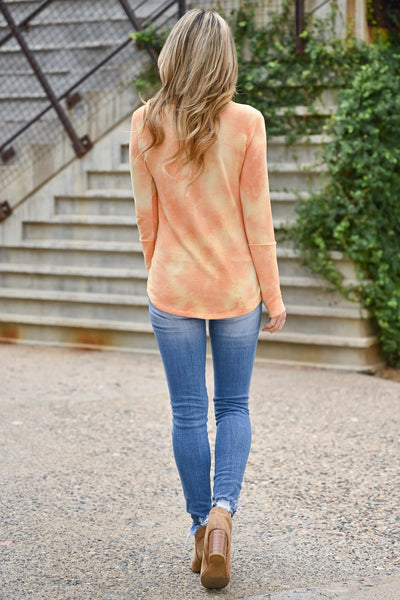 Trust Yourself Tie Dye Top - Creamsicle womens casual long sleeve tie dye ribbed knit top closet candy back
