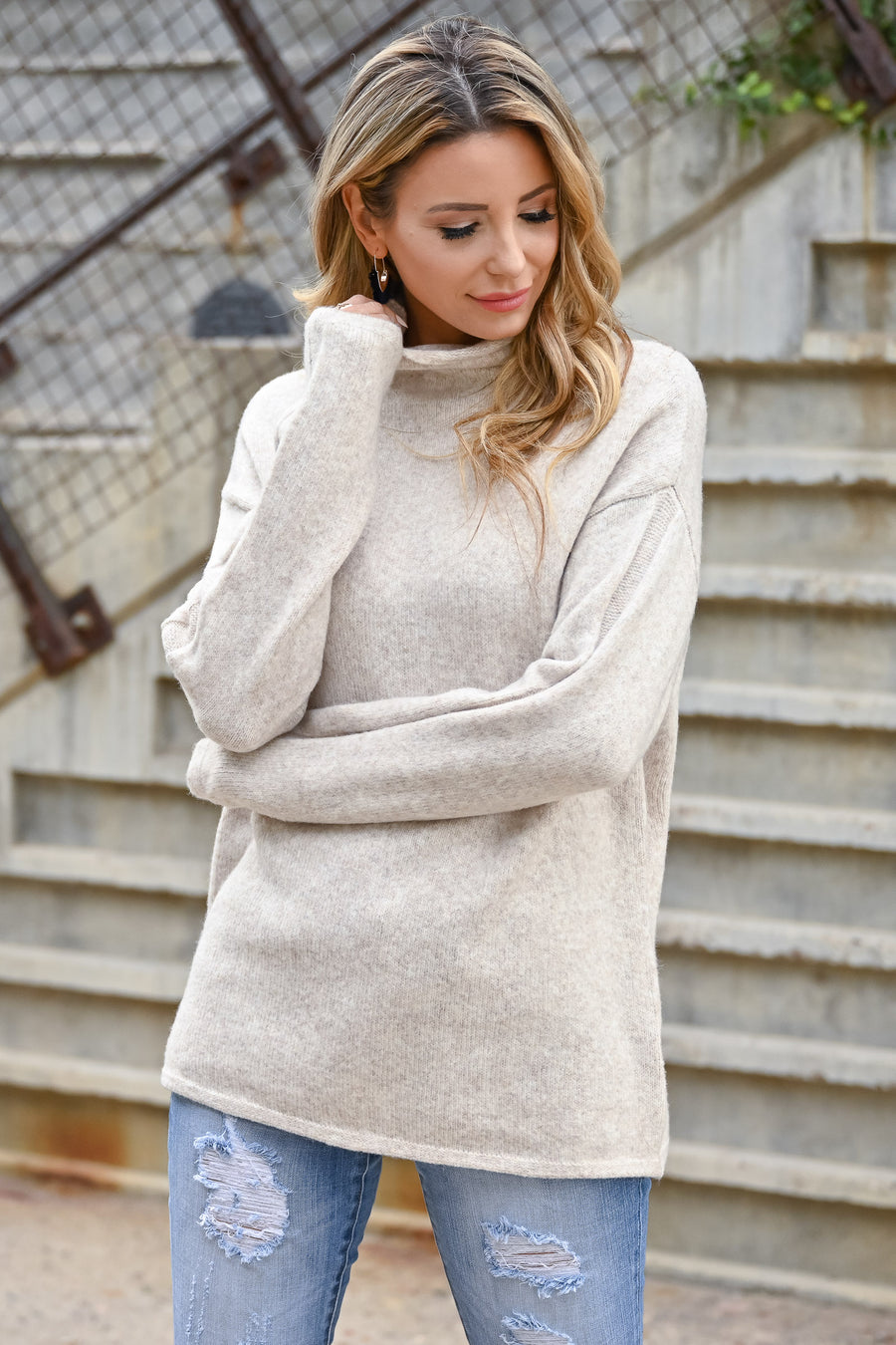 New Beginnings Mock Neck Knit Sweater - Beige womens casual soft long sleeve sweater closet candy sitting