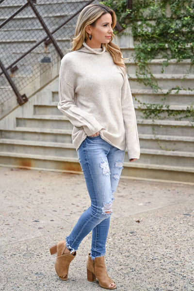 New Beginnings Mock Neck Knit Sweater - Beige womens casual soft long sleeve sweater closet candy side