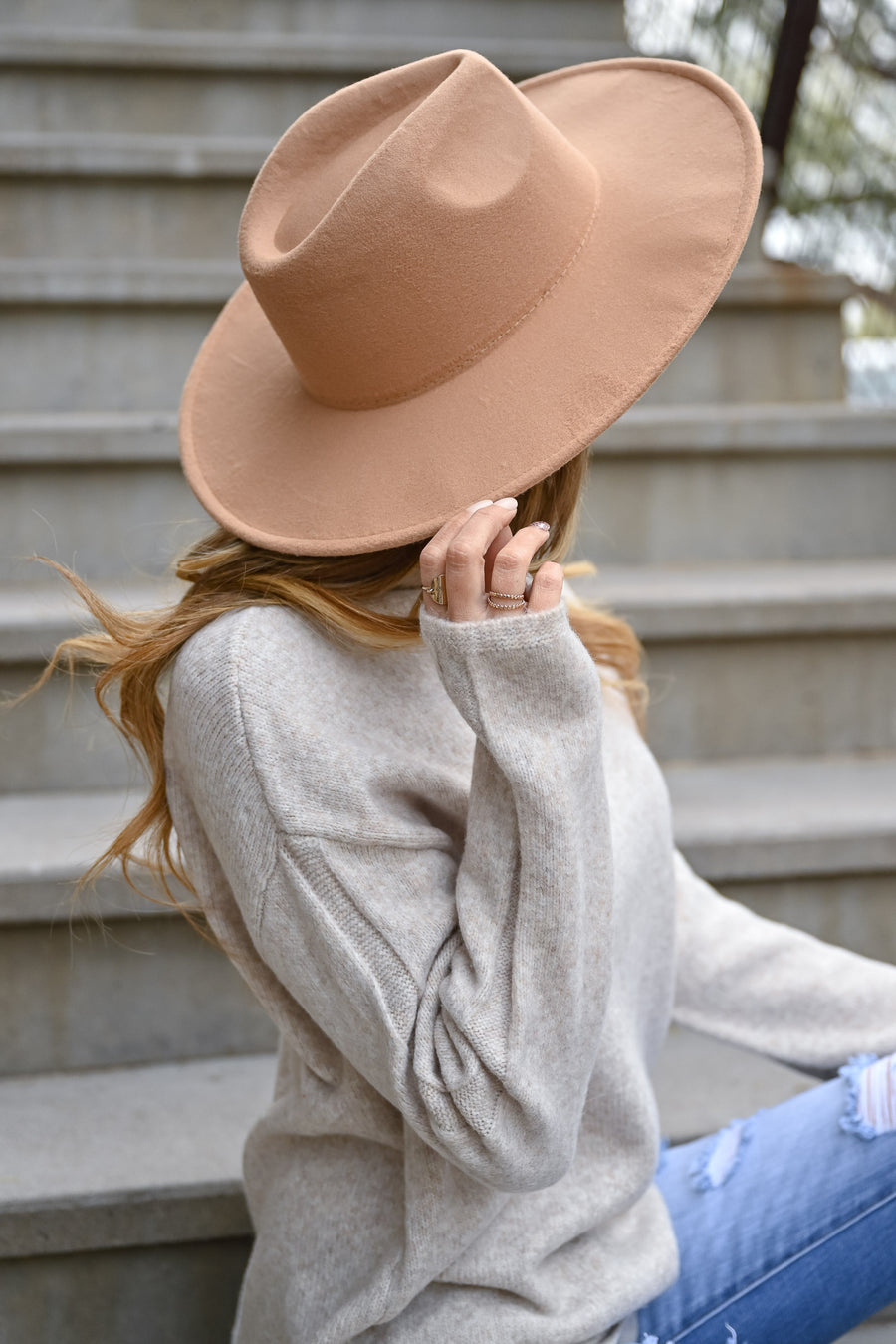 Keeping Secrets Wide Brim Hat - Tan womens trendy vegan wool wide brim hat closet candy sitting