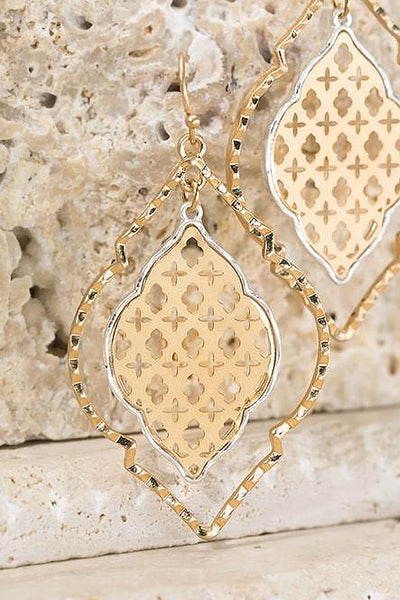Out Of Time Dangle Earrings - Gold womens trendy quatrefoil dangle earrings closet candy flatlay