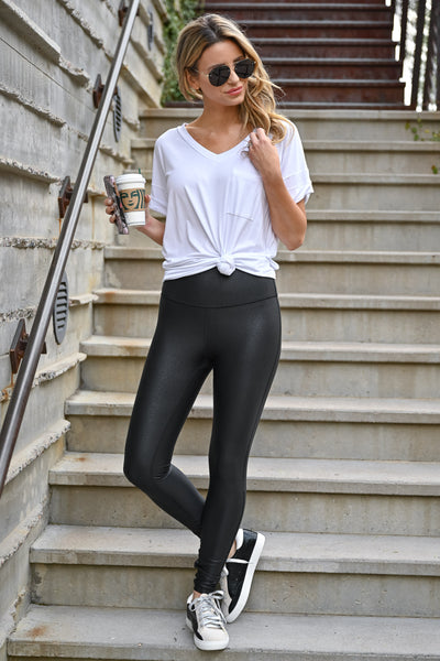 Thanx Me Later Foil Leggings - Black womens casual high rise athletic leggings with tummy control closet candy front 3