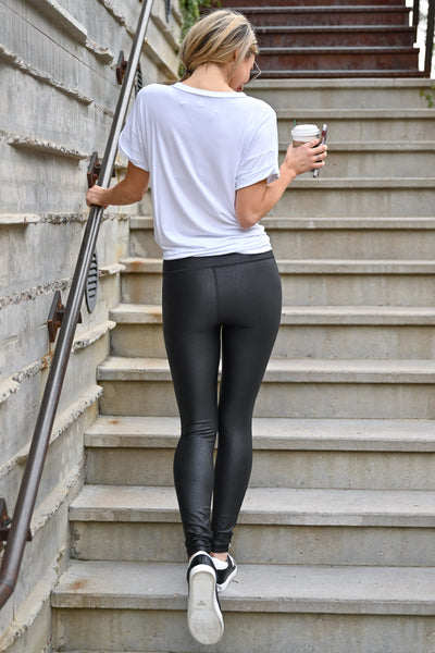 Thanx Me Later Foil Leggings - Black womens casual high rise athletic leggings with tummy control closet candy back