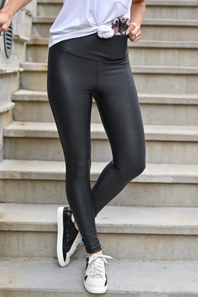 Thanx Me Later Foil Leggings - Black womens casual high rise athletic leggings with tummy control closet candy front 2