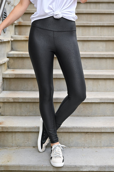 Thanx Me Later Foil Leggings - Black womens casual high rise athletic leggings with tummy control closet candy front 4