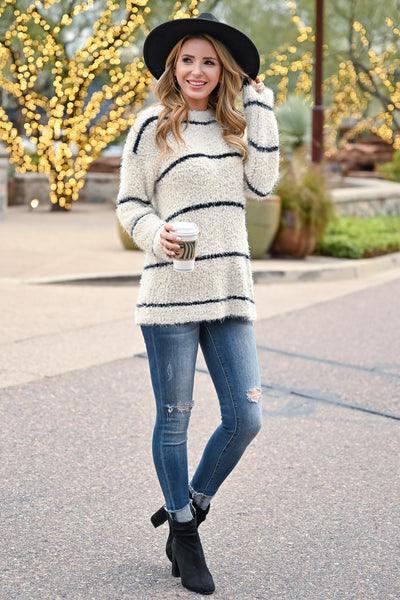 Tell Me Something Stripe Sweater - Ivory & Black womens casual long sleeve horizontal stripe sweater closet candy side