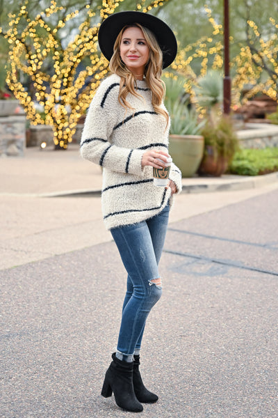 Tell Me Something Stripe Sweater - Ivory & Black womens casual long sleeve horizontal stripe sweater closet candy side 2