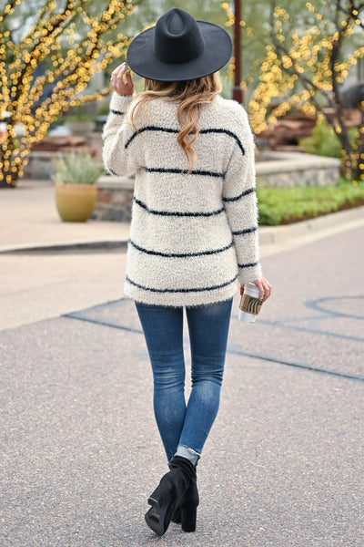 Tell Me Something Stripe Sweater - Ivory & Black womens casual long sleeve horizontal stripe sweater closet candy back
