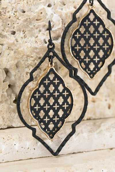 Out Of Time Dangle Earrings - Black womens casual dangle quatrefoil earrings closet candy flatlay