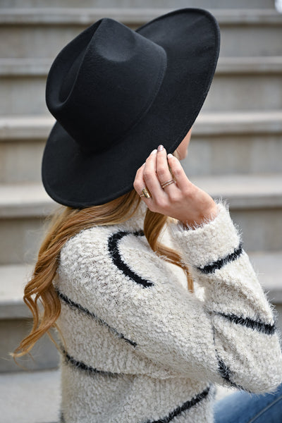 Keeping Secrets Wide Brim Hat - Black womens trendy wide brim vegan wool hat closet candy back