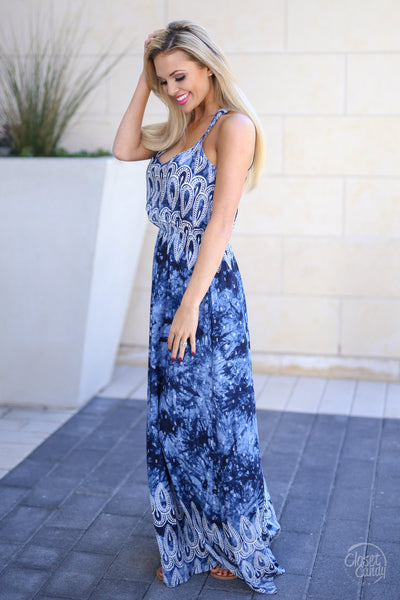 Voyager Maxi Dress - Navy tie dye maxi dress, side, Closet Candy Boutique