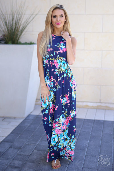 Cotton Candy Skies Dress - Navy floral maxi dress, front, Closet Candy Boutique