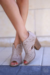 On the Move Booties - Cream laser cutout heeled ankle booties, front, Closet Candy Boutique