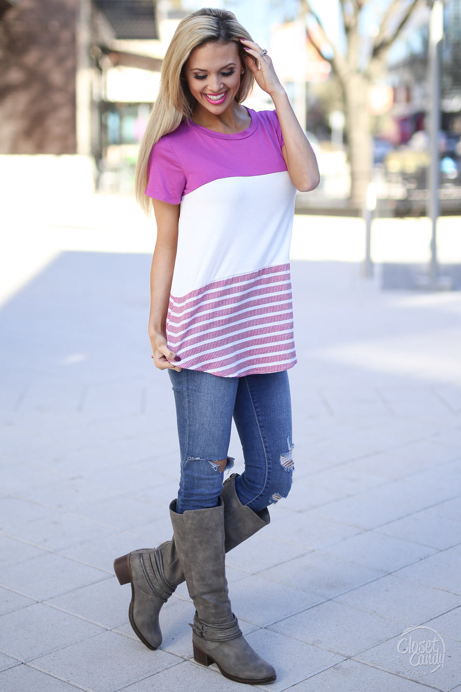 Love Letters Top - Magenta colorblock short sleeve top, outfit, Closet Candy Boutique
