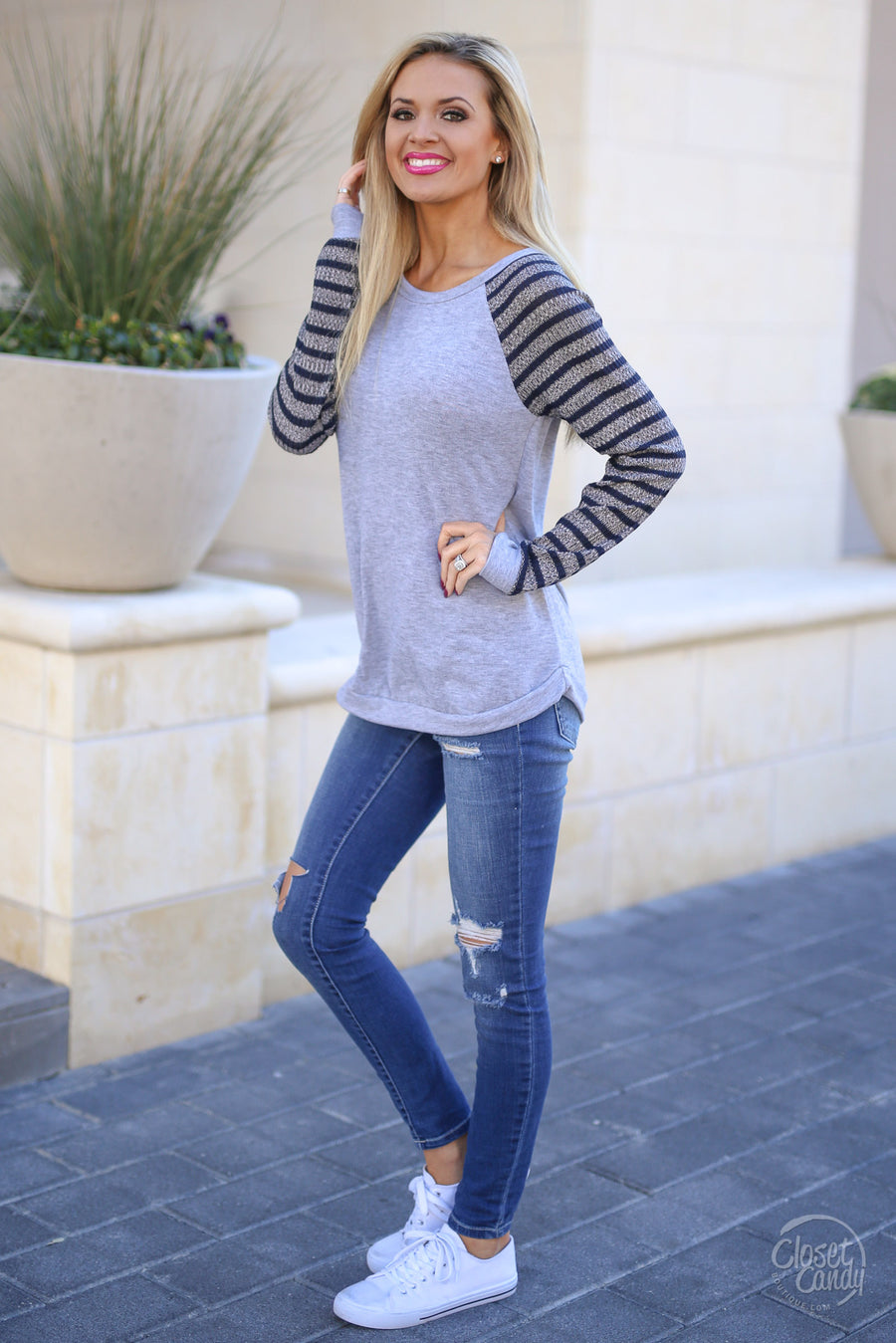 Only in the Midwest Top - Heather Grey/Navy raglan stripe top, front, Closet Candy Boutique