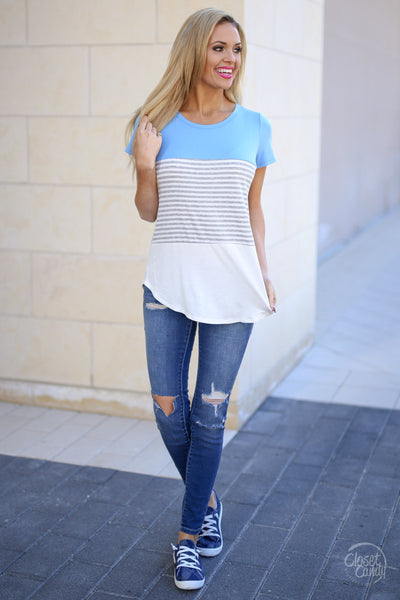 All Day Everyday Top - Light Blue stripe contrast top, front, Closet Candy Boutique