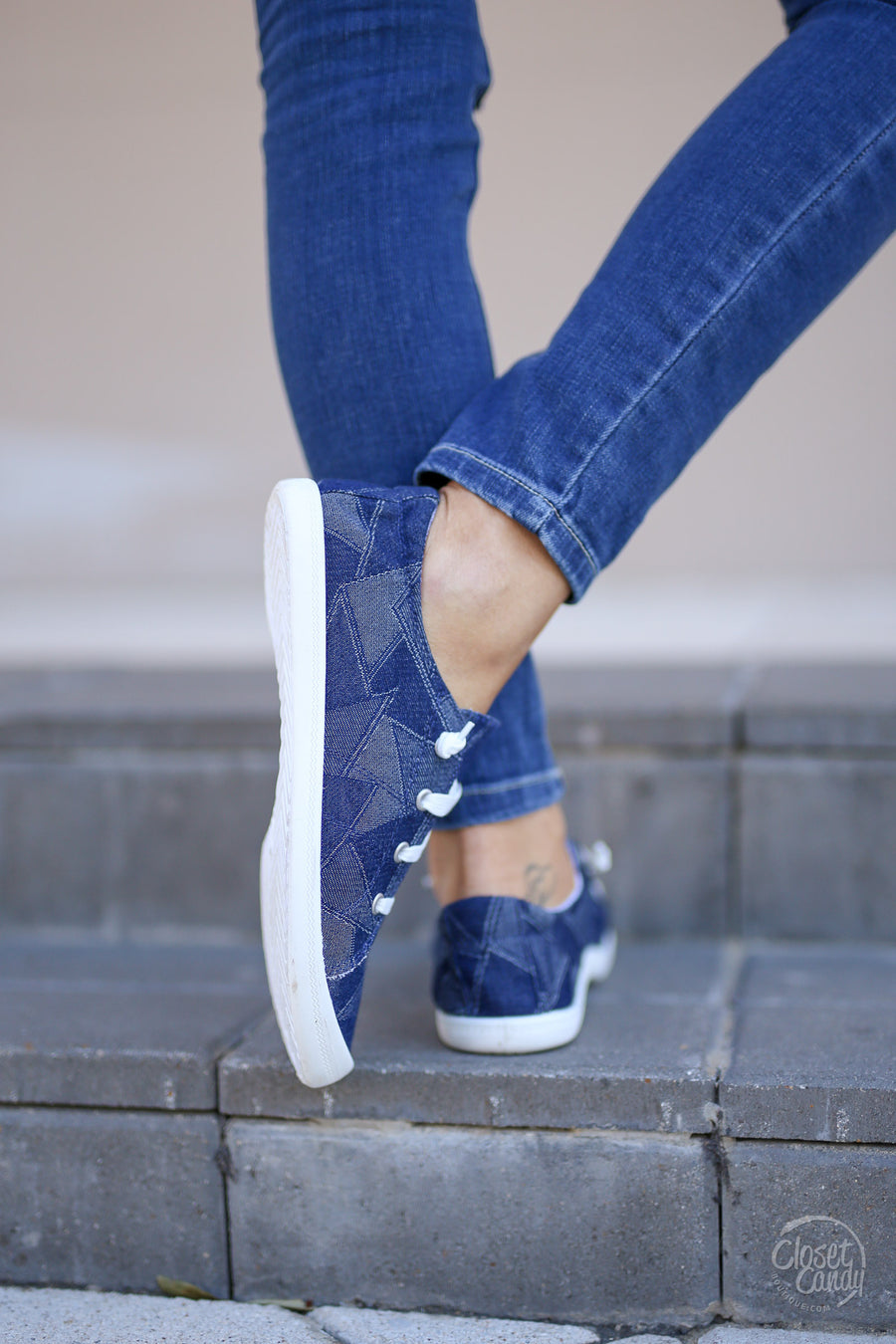 Next Step Sneakers - Denim blue patch sneakers, side, Closet Candy Boutique