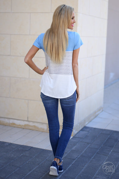 All Day Everyday Top - Light Blue stripe contrast top, back, Closet Candy Boutique