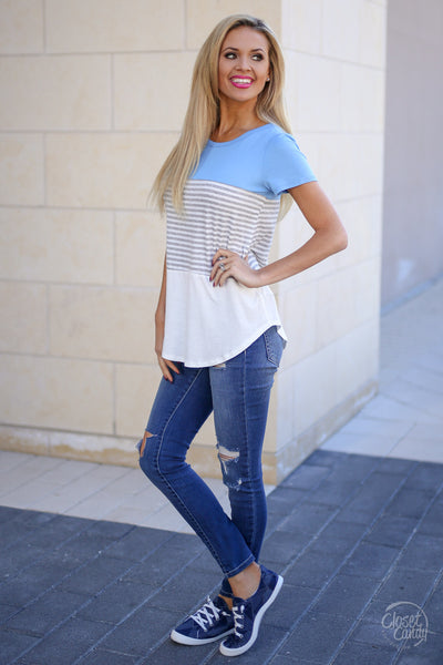 All Day Everyday Top - Light Blue stripe contrast top, side, Closet Candy Boutique