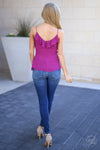 Long Beach Tank Top - Fuchsia ruffle tank top, back, Closet Candy Boutique