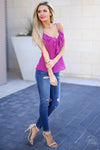 Long Beach Tank Top - Fuchsia ruffle tank top, side, Closet Candy Boutique