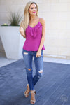Long Beach Tank Top - Fuchsia ruffle tank top, front, Closet Candy Boutique