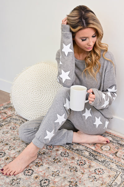 Star Gazing Loungers - Heather Grey womens casual star print loungewear closet candy sitting