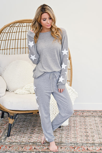 Star Gazing Loungers - Heather Grey womens casual star print loungewear closet candy front