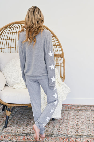 Star Gazing Loungers - Heather Grey womens casual star print loungewear closet candy back