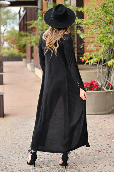 Rock Your World Ribbed Duster Cardigan - Black womens trendy long sleeve ribbed duster cardigan long length closet candy back