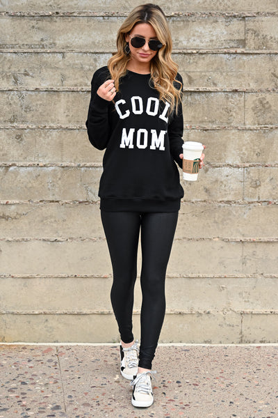 """Cool Mom"" Sweatshirt - Black womens casual long sleeve graphic sweatshirt closet candy front 2"