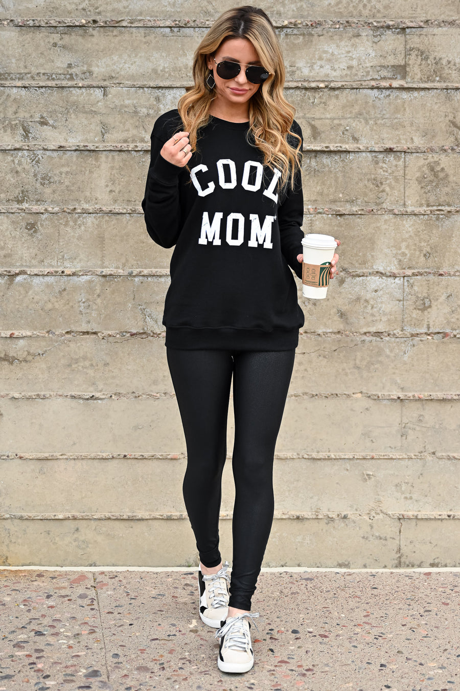 """Cool Mom"" Sweatshirt - Black womens casual long sleeve graphic sweatshirt closet candy front"