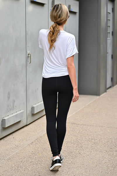 The Essential High Waisted Leggings - Black womens casual high rise athletic leggings with tummy control closet candy back