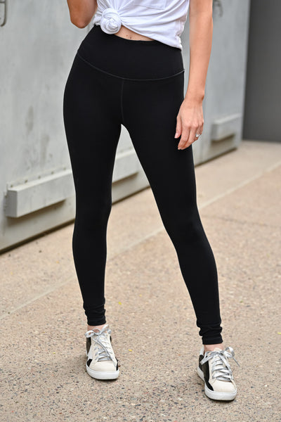 The Essential High Waisted Leggings - Black womens casual high rise athletic leggings with tummy control closet candy front