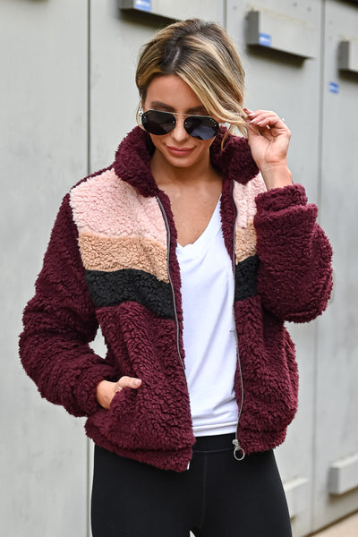Keep Climbing Color Block Sherpa Jacket - Wine womens casual zip up color block sherpa jacket closet candy close