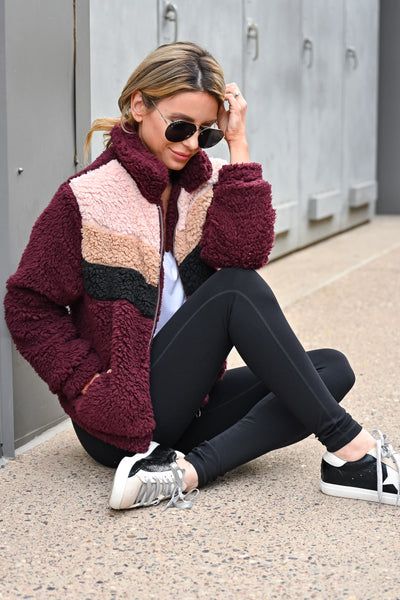 Keep Climbing Color Block Sherpa Jacket - Wine womens casual zip up color block sherpa jacket closet candy sitting