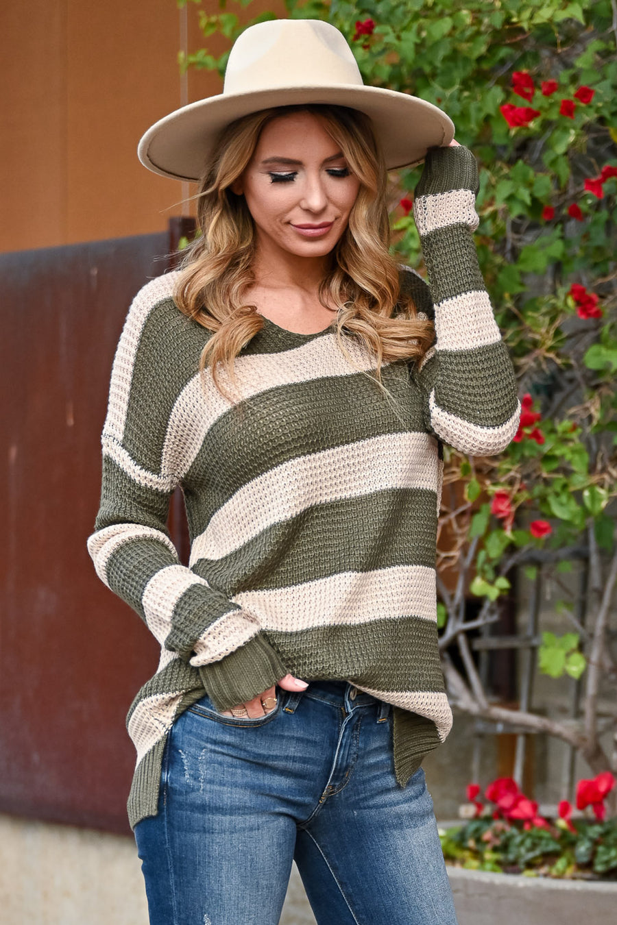 Cheer Up Striped Sweater - Olive & Taupe womens trendy lightweight long sleeve side split hem closet candy front