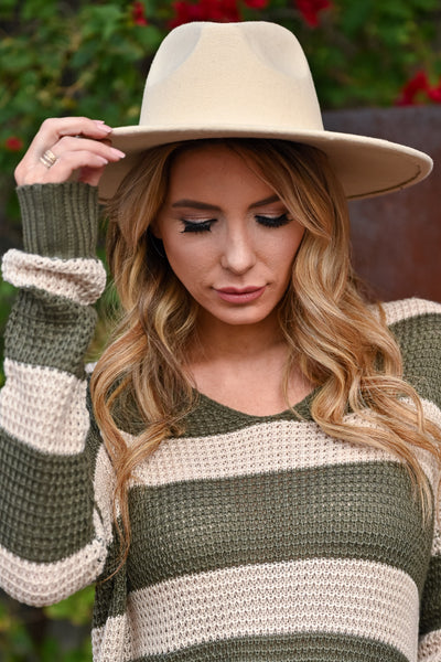Keeping Secrets Wide Brim Hat - Beige womens trendy wide brim vegan wool hat closet candy front