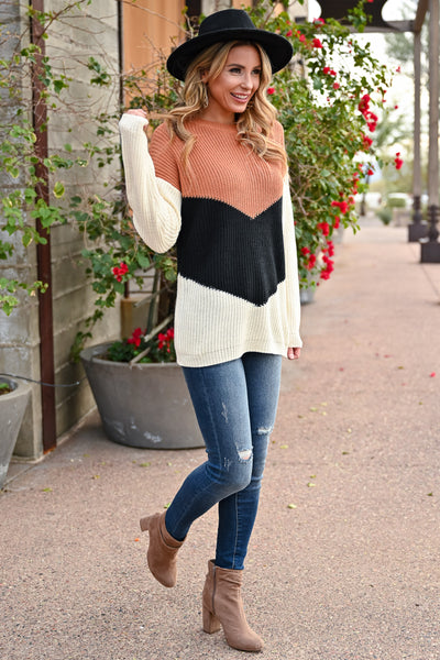 Adventure Is Waiting Color Block Sweater - Rust & Ivory womens trendy color block chevron sweater closet candy front 3