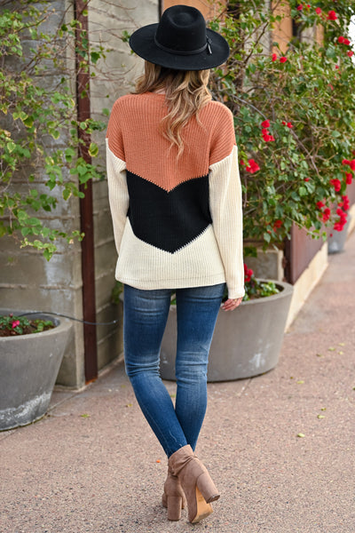 Adventure Is Waiting Color Block Sweater - Rust & Ivory womens trendy color block chevron sweater closet candy back