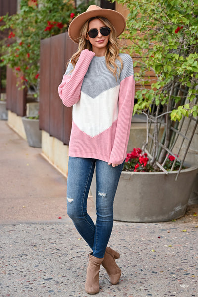 Adventure Is Waiting Color Block Sweater - Grey & Pink womens trendy color block chevron sweater closet candy front 2