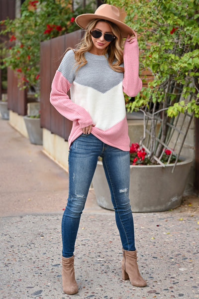 Adventure Is Waiting Color Block Sweater - Grey & Pink womens trendy color block chevron sweater closet candy front 1