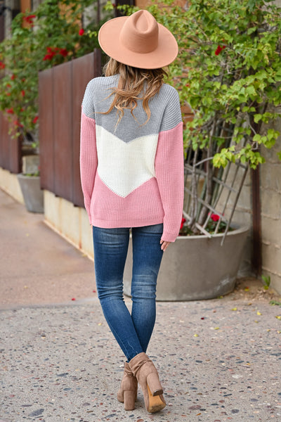 Adventure Is Waiting Color Block Sweater - Grey & Pink womens trendy color block chevron sweater closet candy back