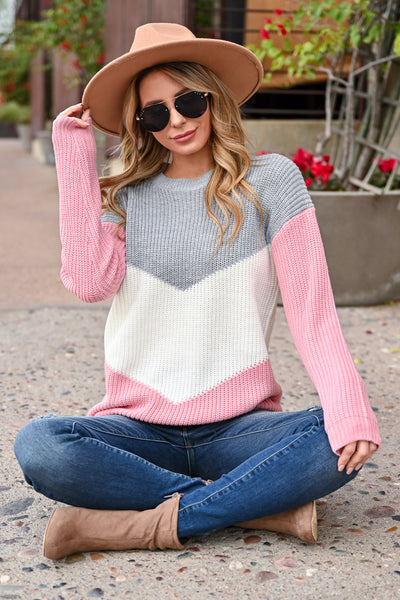 Adventure Is Waiting Color Block Sweater - Grey & Pink womens trendy color block chevron sweater closet candy sitting