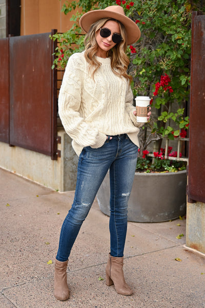 Make It Easier Cable Knit Sweater - Ivory womens trendy oversized cable knit long sleeve sweater closet candy front