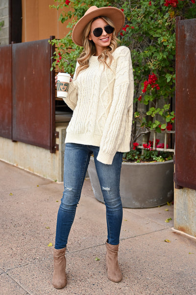 Make It Easier Cable Knit Sweater - Ivory womens trendy oversized cable knit long sleeve sweater closet candy side